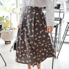 Butterfly Pattern Flare Long Skirt