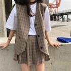 Plaid Vest / Pleated A-line Skirt