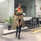 Snap-button Long Trench Coat With Sash
