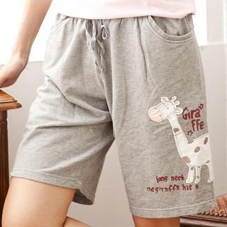 Giraffe Print Cotton Shorts