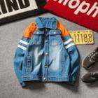 Color Block Washed Denim Jacket