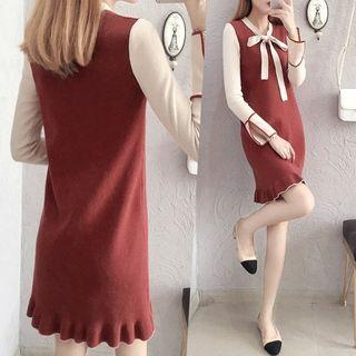 Split-sleeve Tie-neck Knit Dress