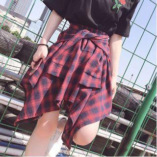 Plaid Hanky A-line Skirt