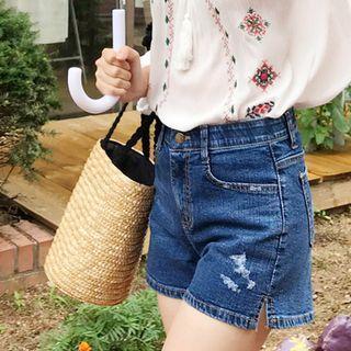 Slit-side Washed Denim Shorts