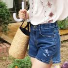 Slit-side Washed Denim Shorts