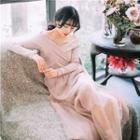 Long-sleeve Off Shoulder Knit Maxi Dress