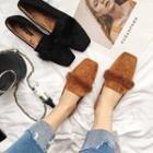 Faux-fur Square-toe Flats