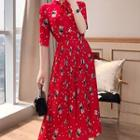 Elbow-sleeve Floral A-line Pleated Midi Dress