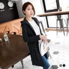 Stripe Tweed Knit Hooded Coat