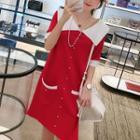 Short-sleeve Contrast Trim Front Button Dress