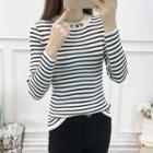 Lettering Striped Ribbed Knit Top