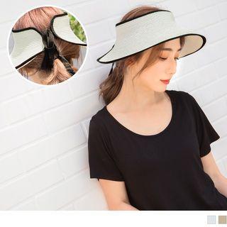 Contrast Trim Straw Visor Hat