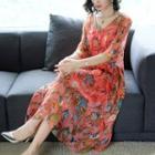 Floral Print Elbow-sleeve A-line Silk Dress
