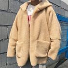 Open-front Fleece Hooded Jacket