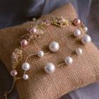 Bridal Faux Pearl Rhinestone Bracelet Gold - One Size