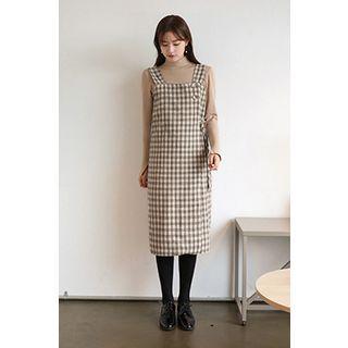 Plaid Wrap H-line Pinafore Dress