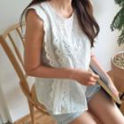 Sleeveless Eyelet-lace Top Ivory - One Size