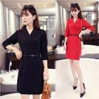 V-neck 3/4-sleeve Sheath Dress