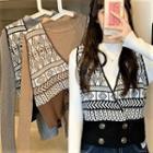 Long-sleeve Knit Top / Patterned Sweater Vest