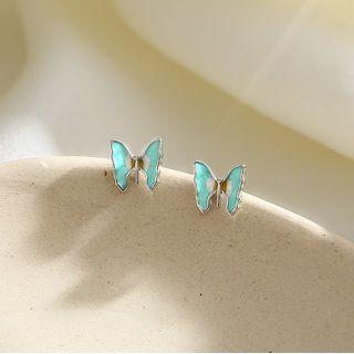 925 Sterling Silver Butterfly Stud Earrings Earring - One Size