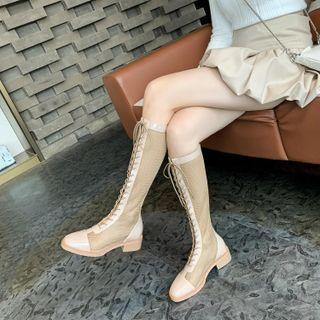 Mesh Panel Lace-up Block Heel Tall Boots