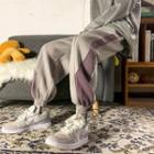 Contrast-trim Fleece-lined Harem Pants