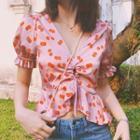 Cherry Print Short-sleeve Blouse