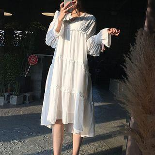 Long-sleeve Frill-trim Midi Chiffon Dress White - One Size
