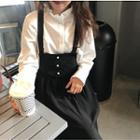Frill Collar Blouse / Midi Pinafore Dress