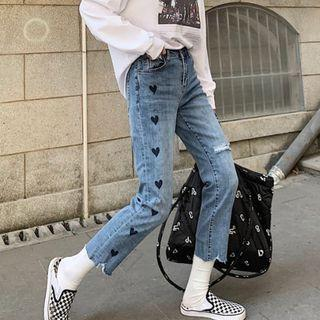 Frayed Heart Embroidered Straight-fit Jeans / Belt / Set
