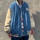 Denim Baseball Jacket Blue & Almond - One Size