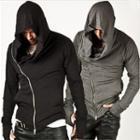 Diagonal Zipped Hooded Top