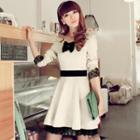 Lace-trim A-line Dress