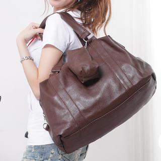 Faux-leather Tote With Pouch