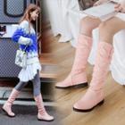 Low Heel Hidden Wedge Mid-calf Boots
