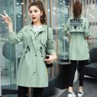 Lettering Buttoned Trench Coat