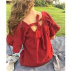 Open Back Elbow Sleeve Blouse