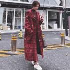 Hooded Plaid Long Toggle Coat