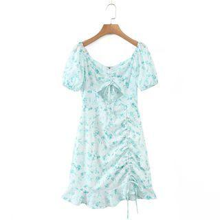 Puff-sleeve Drawstring Cutout Floral Mini A-line Dress