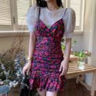 Sleeveless Floral Ruffled Dress / Puff-sleeve Plain Blouse