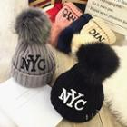 Pompom Letter Embroidered Beanie