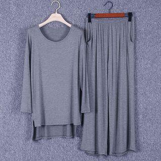 Set: Long-sleeve U-neck Top + Long Pants / Cropped Pants
