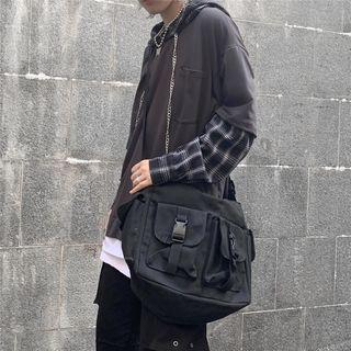 Plain Multi-section Messenger Bag Black - One Size
