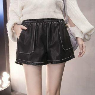 Faux-leather Stitched Shorts