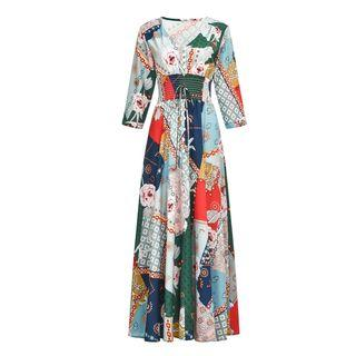 Floral Print 3/4-sleeve Maxi A-line Dress