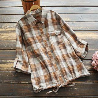 Plaid Drawstring-hem Shirt