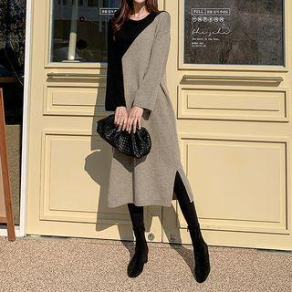 Two-tone Wool Blend Knit Dress