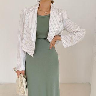 Linen Pinstripe Cropped Blazer