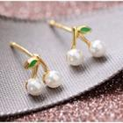 925 Sterling Silver Faux Pearl Cherry Earring