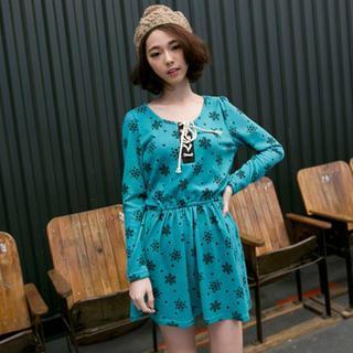 Long-sleeve Printed A-line Dress